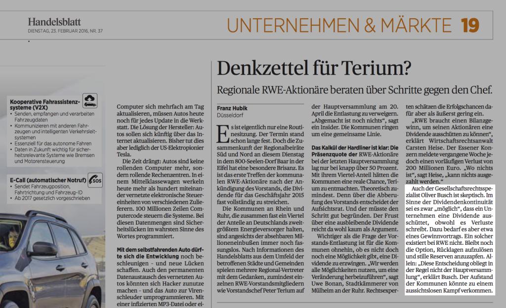RA Busch im Handelsblatt des 23.02.2016